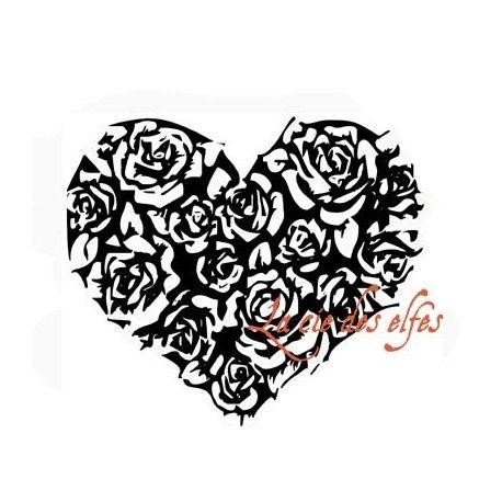 grand coeur rempli de roses tampon nm