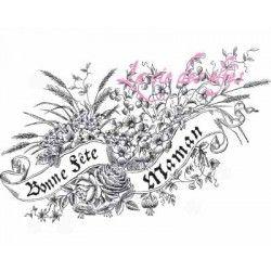 tampon Bonne fête Maman version fleurie - nm