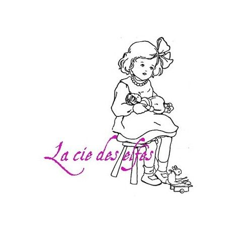 tampon fille rétro   retro girl rubber stamp