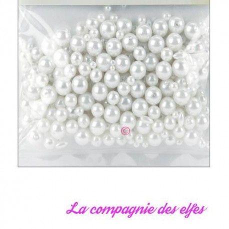 assortiment perles nacrées blanches