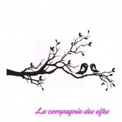 tampon branche oiseaux - tampon nm