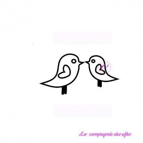 tampon couple oiseaux - non monté