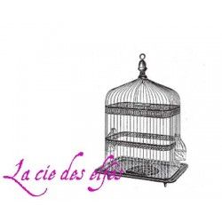 cage oiseau vintage tampon nm