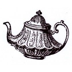 le thé - théière vintage -tampon nm
