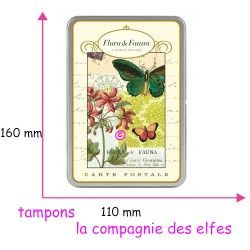 coffret métal cartes postales vintage flore & faune