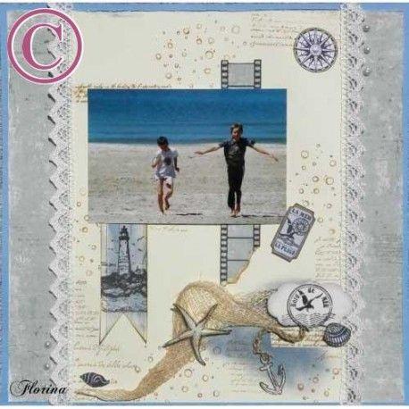 Tampon bord mer | tampon scrapbooking mer | tampon rond | sea stamp