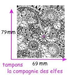 tampon texture fleurs - non monté - fimo papier -