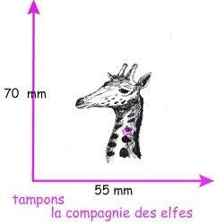 superbe tête de girafe tampon bois