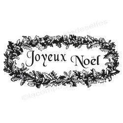 label Joyeux Noël houx tampon nm