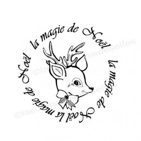 deer rubber stamp | tampon magie noël