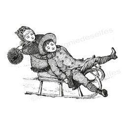 les enfants à la neige tampon vintage nm