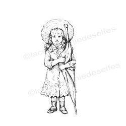 Tampon vintage petite fille parapluie