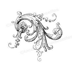 motif floral baroque grand tampon