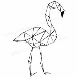 Tampon flamant origami
