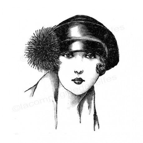 Tampon rétro | tampon encreur vintage | tampon mode ancienne | tampon femme vintage