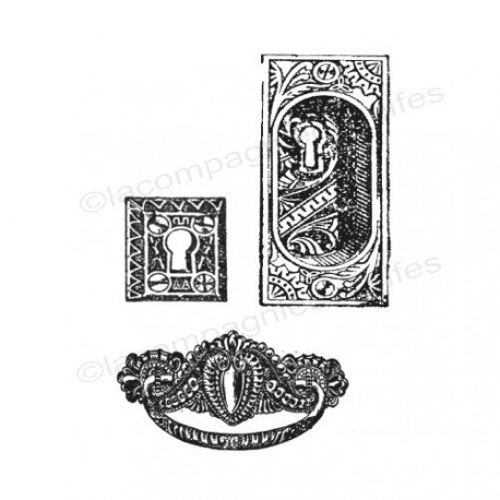 Tampon scrap vintage | tampon encreur rétro clé | tampon serrures | tampon heurtoir