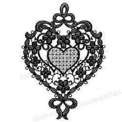 Tampon coeur dentelle | spitze stempel | encaje sello de goma | lace hearth stamp