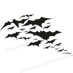 envolée de chauve souris - tampon halloween nm