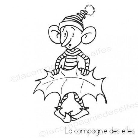Carte gnome et lutin 1/3 Le-lutin-et-sa-feuille-de-houx-tampon-nm