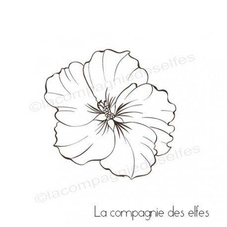 Sketch carte par Sandrine. Tampon-scrap-hibiscus