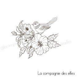 Tampon encreur fleurs | achat tampon oiseau
