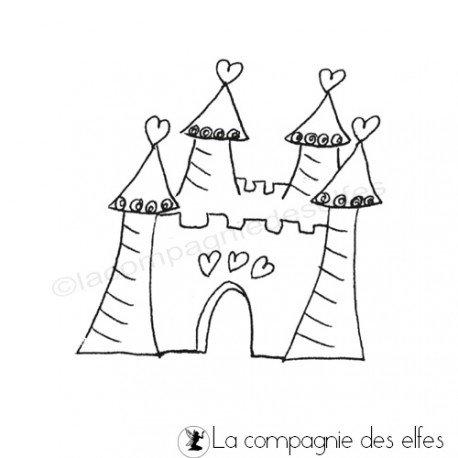 Tampon château fille   tampon encreur princesse