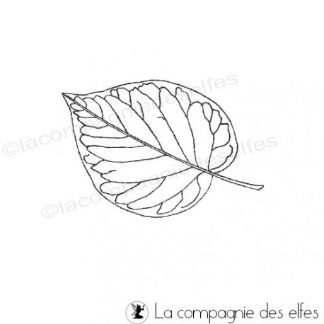 Noir et blanc 1/3 Tampon-feuille-lilas-pm-non-monte