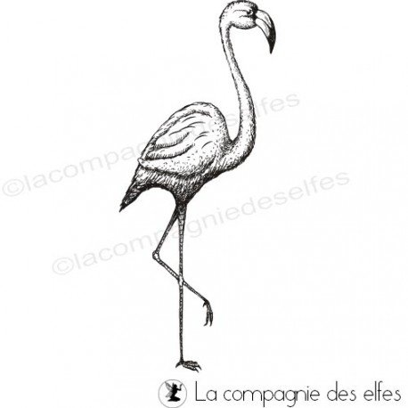 carte exotique 2/3 Tampon-flamant-rose