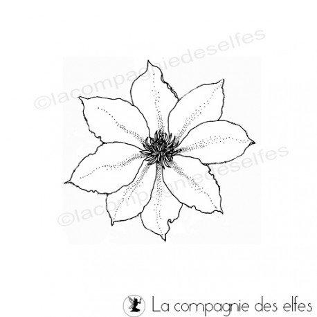 Carte de Noël 2/3 Clematite-fleur-tampon-nm