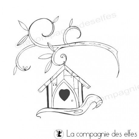 Tampon encreur nichoir | bird house stamp
