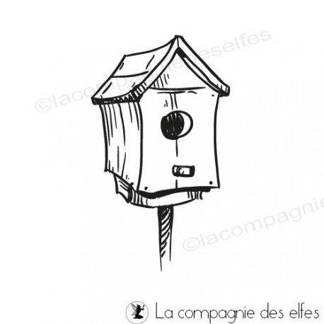 bird house rubberstamp | tampon nichoir oiseau