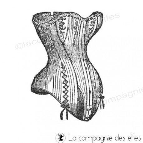 tampon corset rétro | tampon bustier rétro