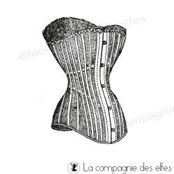 Tampon corset ancien | tampon encreur bustier ancien