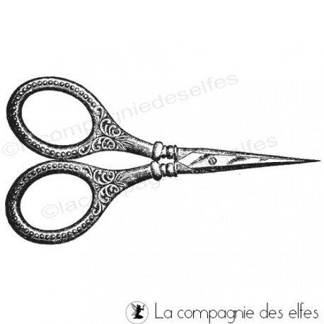 Scissor rubberstamp | tampon ciseaux