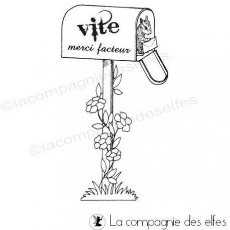 Tampon merci facteur | tampon boite postale | mail box stamp