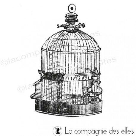 Tampon cage vintage | tampon cage oiseau