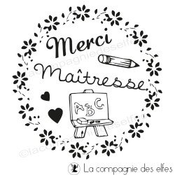 Tampon scrapbooking maitresse | tampon merci maitresse