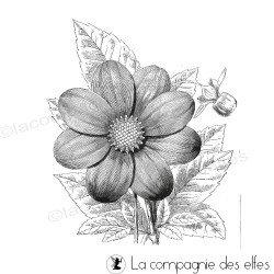 Dahlia fleur - grand tampon non monté