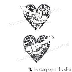 tampon coeurs oiseaux d'amour - nm