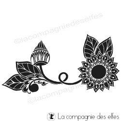 Tampon encreur fleur | tampon frise fleur