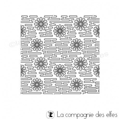 flower rubber stamp | tampon texture fleur | timbro ad inchiostro | carimbo a tinta