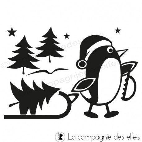 Tampon encreur pingouin | penguin rubber stamp