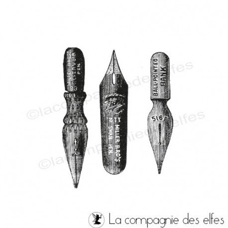 school stamp | old school stamp | timbre plume école | old pen stamp