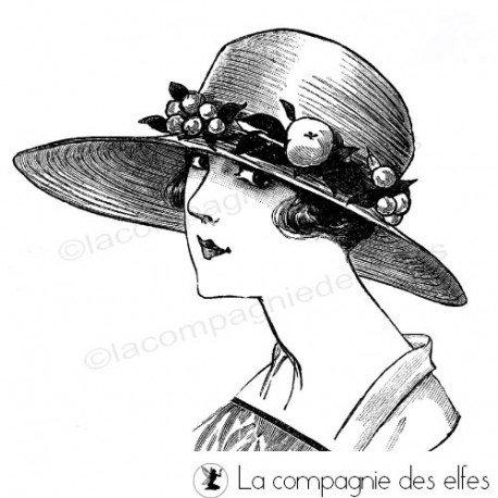 25 novembre Sabine carte avec chapeau ... Madame-chapeau-tampon-nm