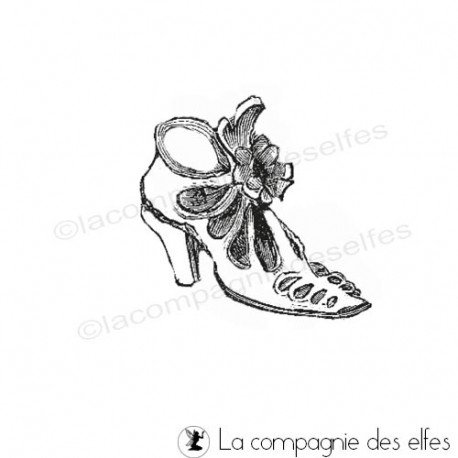 Tampon chaussure rétro | old woman rubber stamp