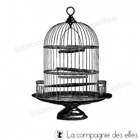 Mini album dentelles et vieux papiers par Clara. Cage-oiseaux-tampon-nm
