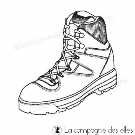 Sketch carte ou page XoXo. Chaussures-randonnee-tampon-nm