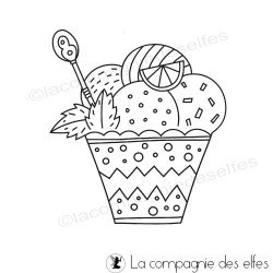 tampon pot glace | ice cream rubberstamp