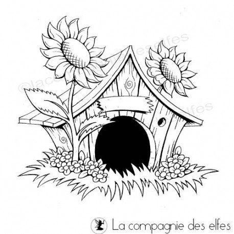 Tampon cabane | tampon scrapbooking maison | house stamp