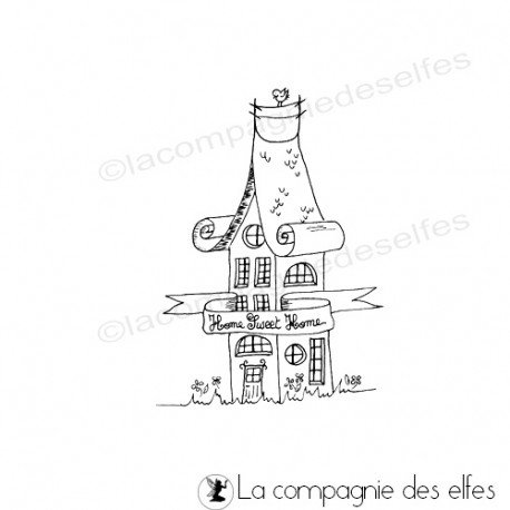 little house rubber stamp | tampon encreur maison